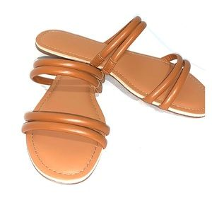 3/20$ J.Crew brown synthetic leather sandals